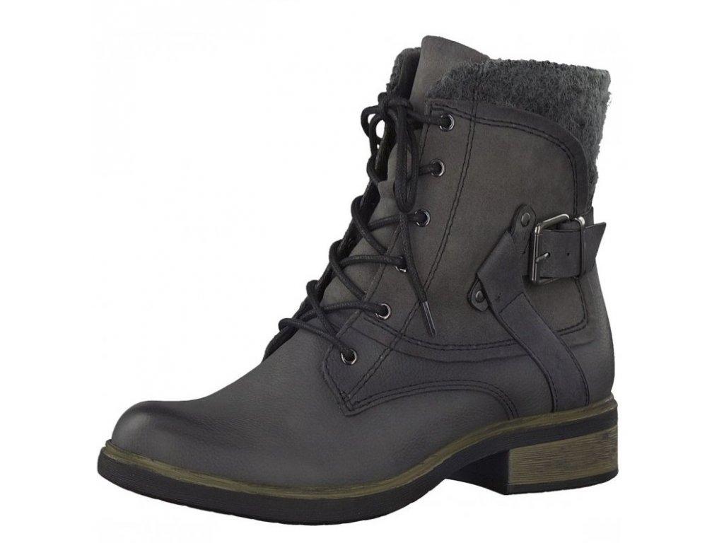 Tamaris-dámské kotníkové boty se šněrováním a ozdobným filcem 1-25101-29/šedá