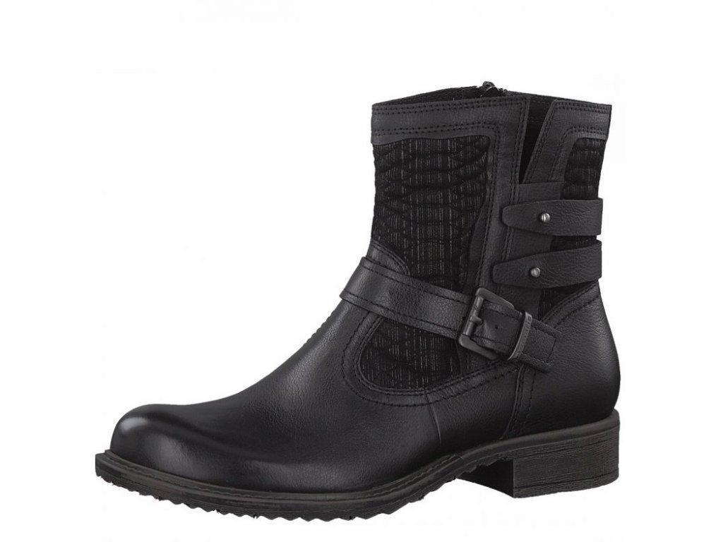 Tamaris-dámské kotníkové boty na pohodlném podpatku zdobené sponou 1-25436-29/černá