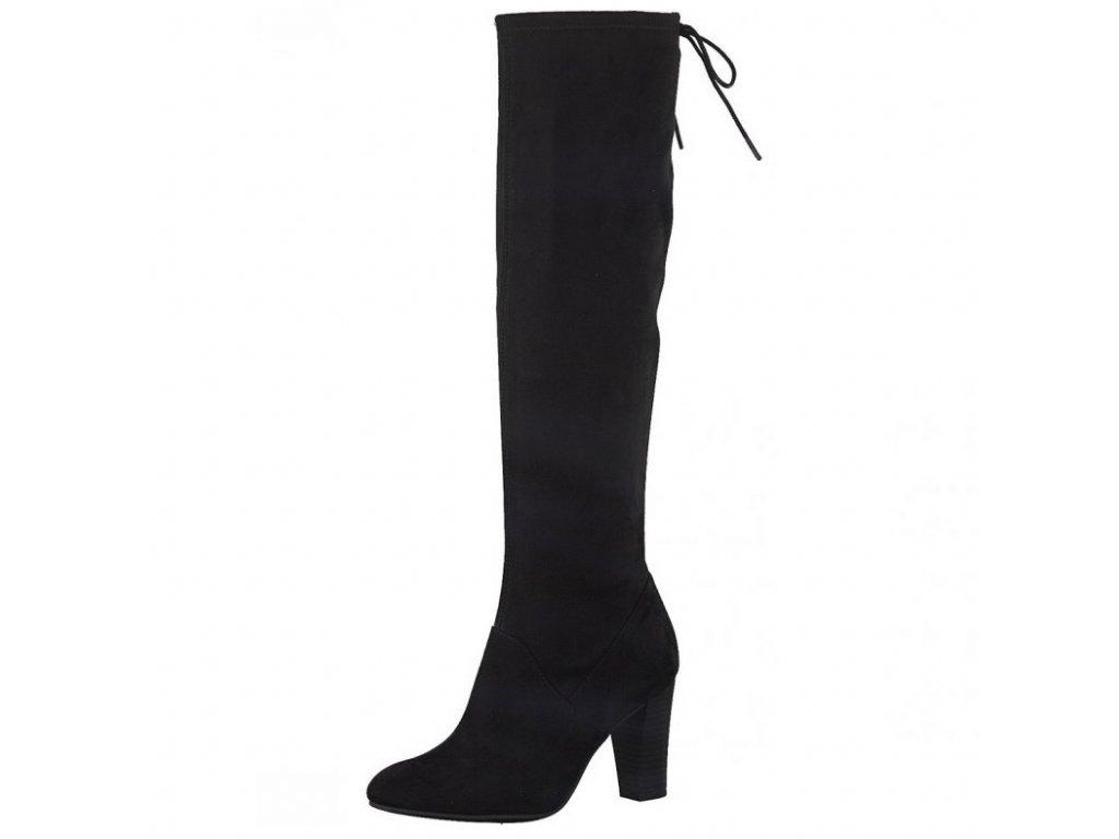 Tamaris-elegantní dámské kozačky na podpatku vyššího střihu ke koleni 1-25510-29/černá