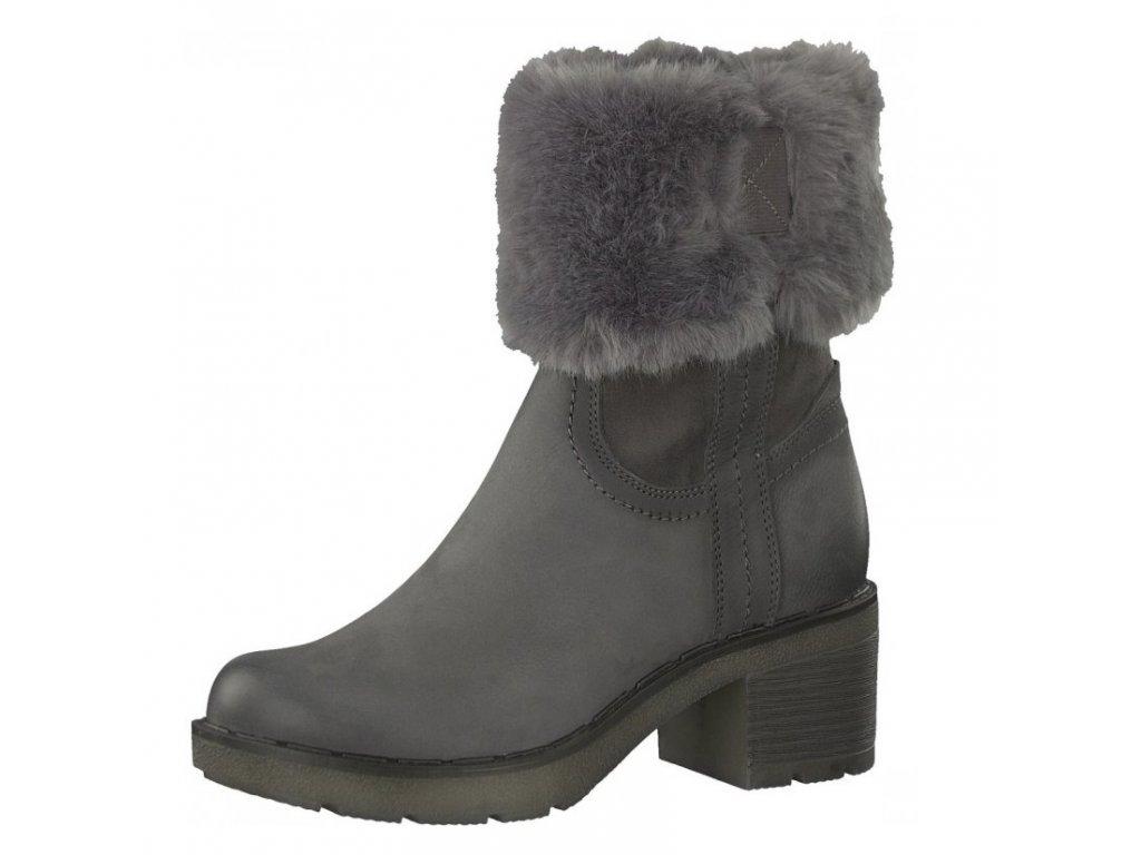Tamaris- dámské zateplené kotníkové boty s kožíškem a Touch It stélkou 1-26449-29/šedá