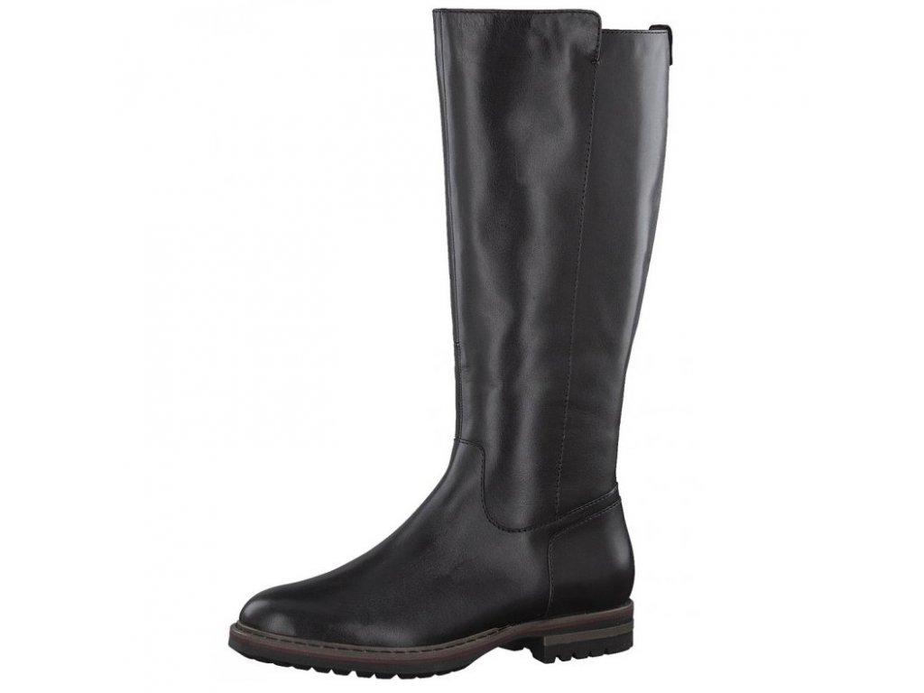 2ff7d61873286 Tamaris- dámské pohodlné kožené kozačky s bytelnou podešví 1-25604-29/černá