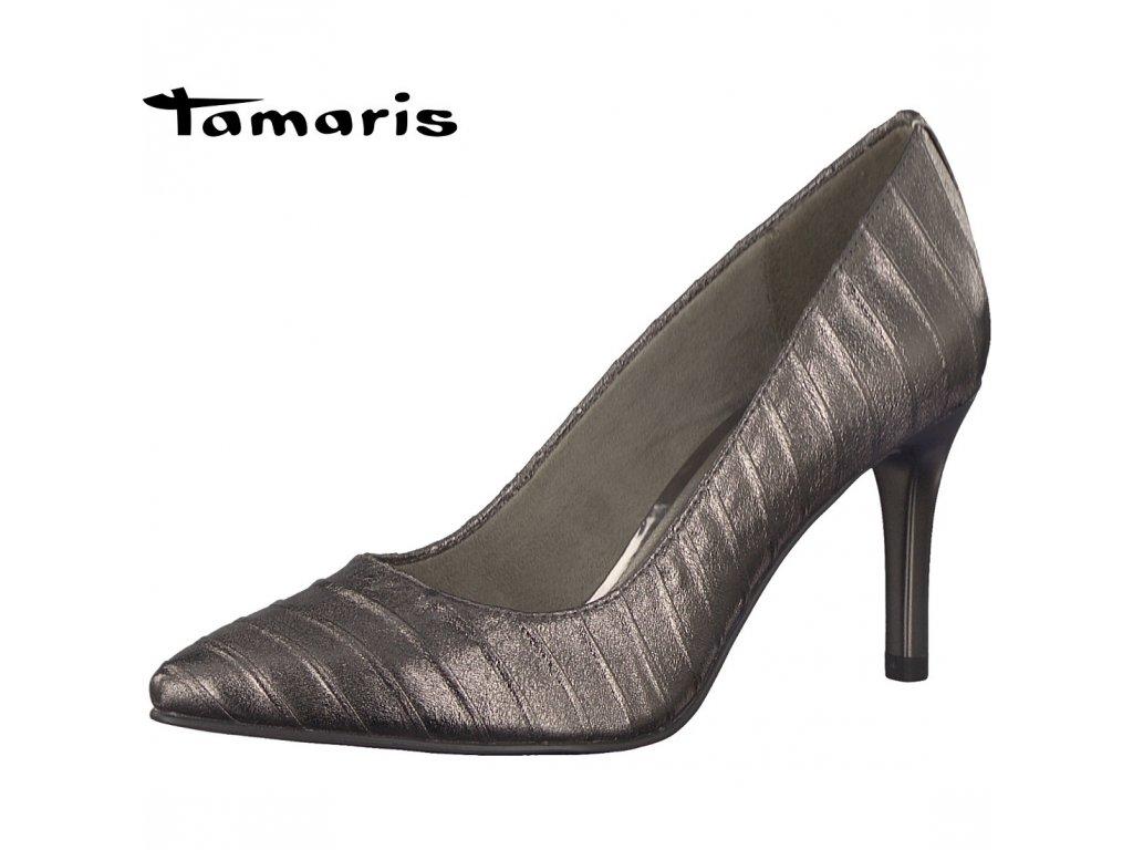 Tamaris- dámské elegantní vzorované špičaté lodičky na podpatku  1-22454-29 bronzová c22b7f5cfb