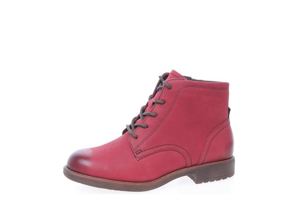 f7133f4901e Tamaris-dámské kotníkové boty na pohodlném podpatku se šněrováním  1-26235-27 červená