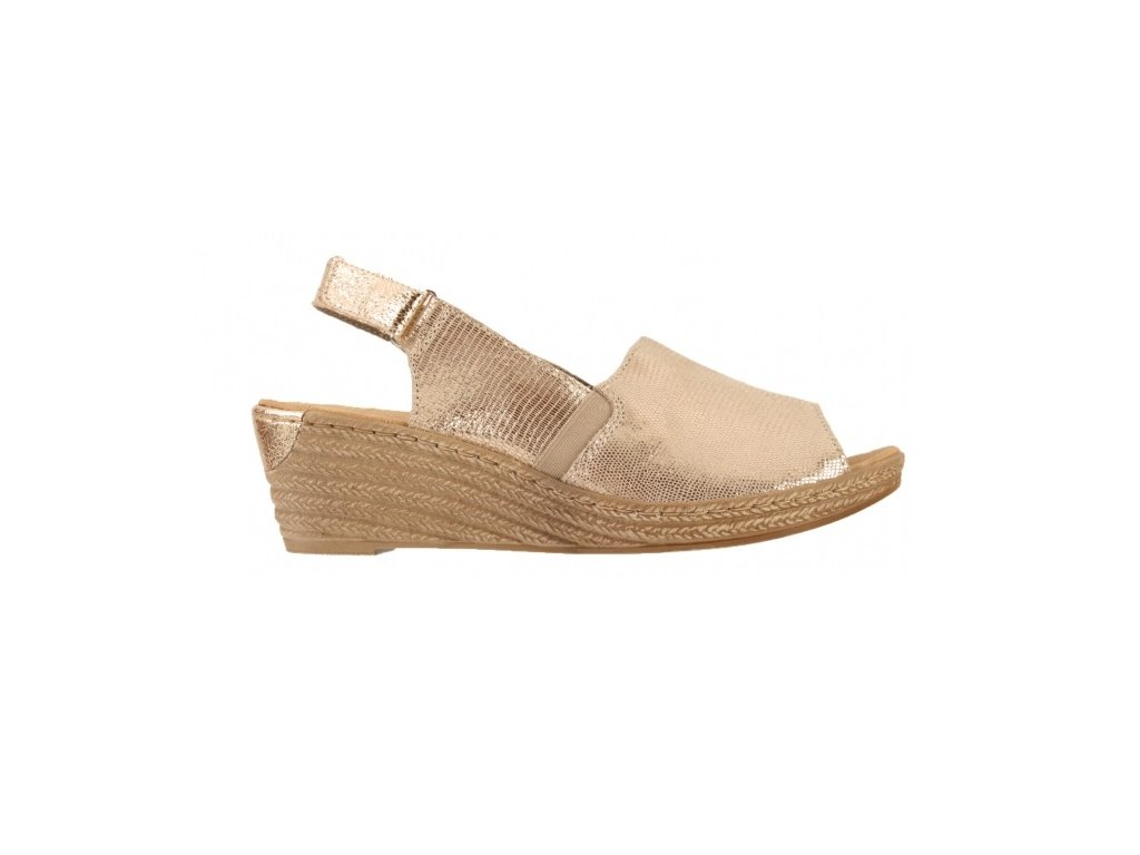 Rieker-dámské sandály na klínku s třpytivým vzorem 62440-90 stříbrná ... 1fc0dea1d2b