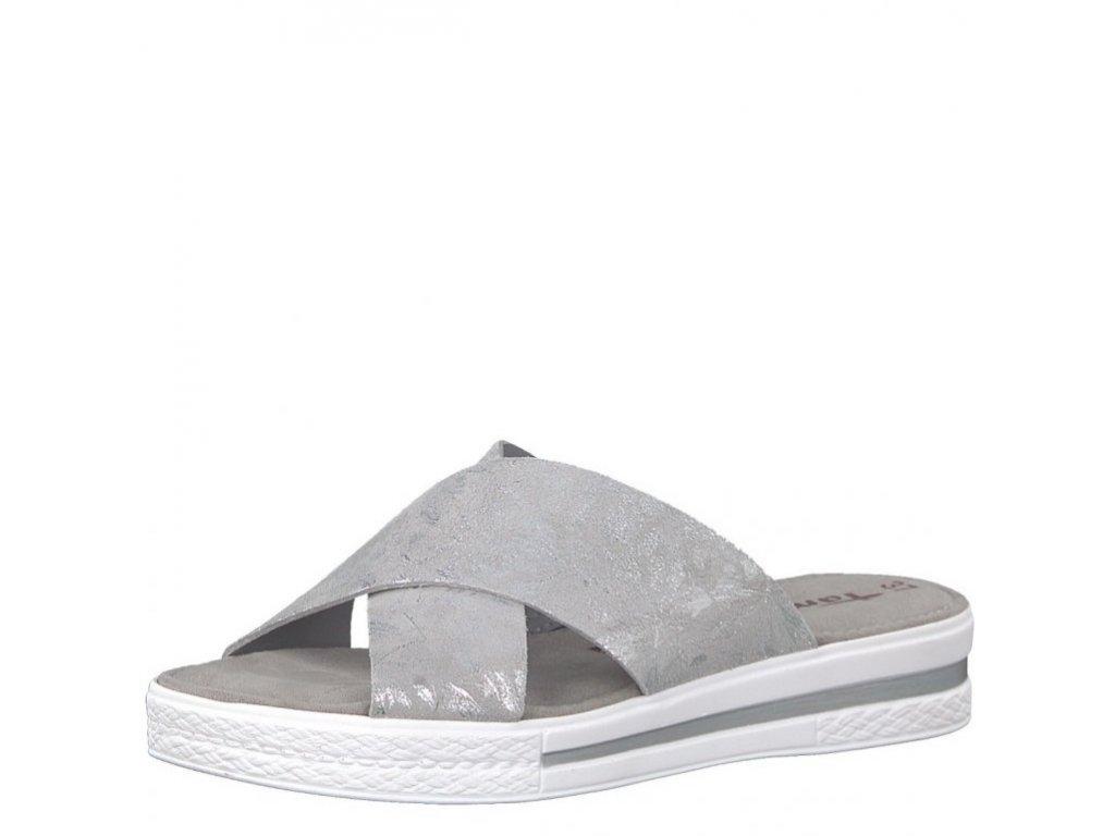 1ccf0bb5d1 Tamaris-dámské pantofle s překříženými pásky zdobené lesklým vzorem  1-27230-20