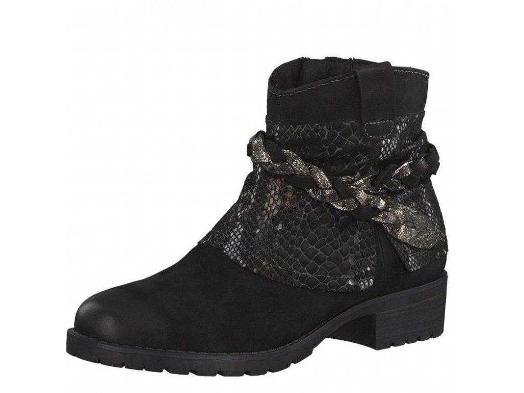 Tamaris-dámské kotníkové boty s ozdobným zdobením okolo kotníku 1-25382-29/černá