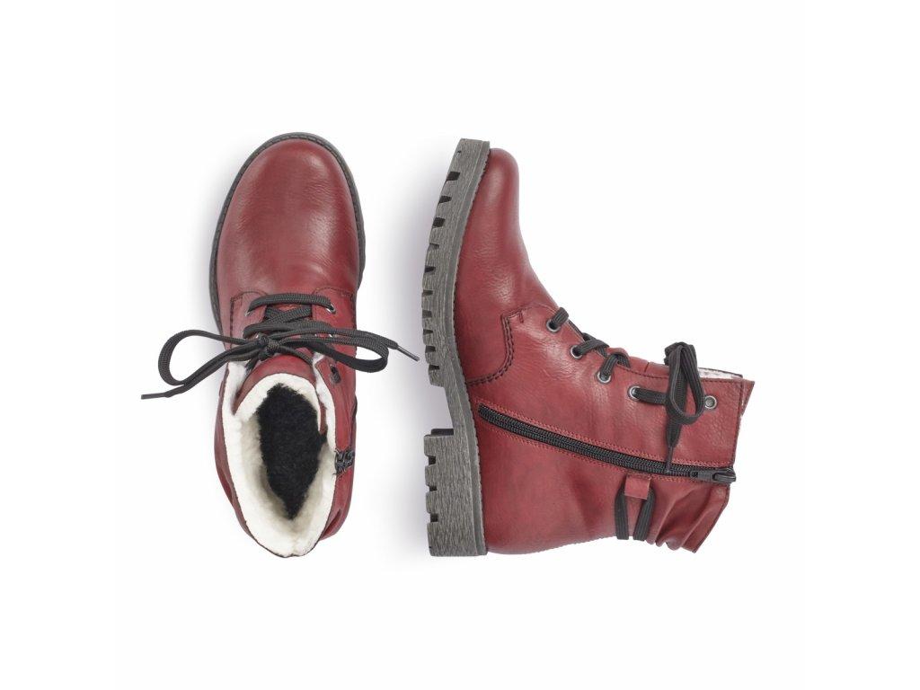 6ca3b1f484 zimni cervene bordo snerovaci kotnikove boty farmarky na podpatku rieker  78550 35