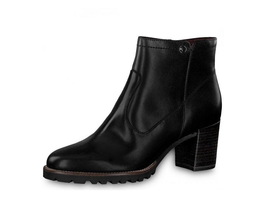 b5646f50123 Tamaris-dámské kotníkové kožené boty na stabilním podpatku 1-25332-21 černá
