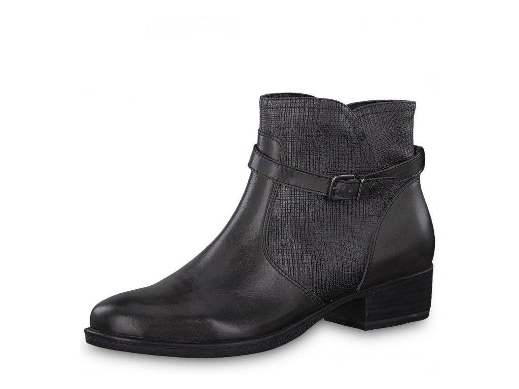 Tamaris-dámské kožené kotníkové boty na pohodlné platformě  s páskem 1-25364-21/černá p/z8