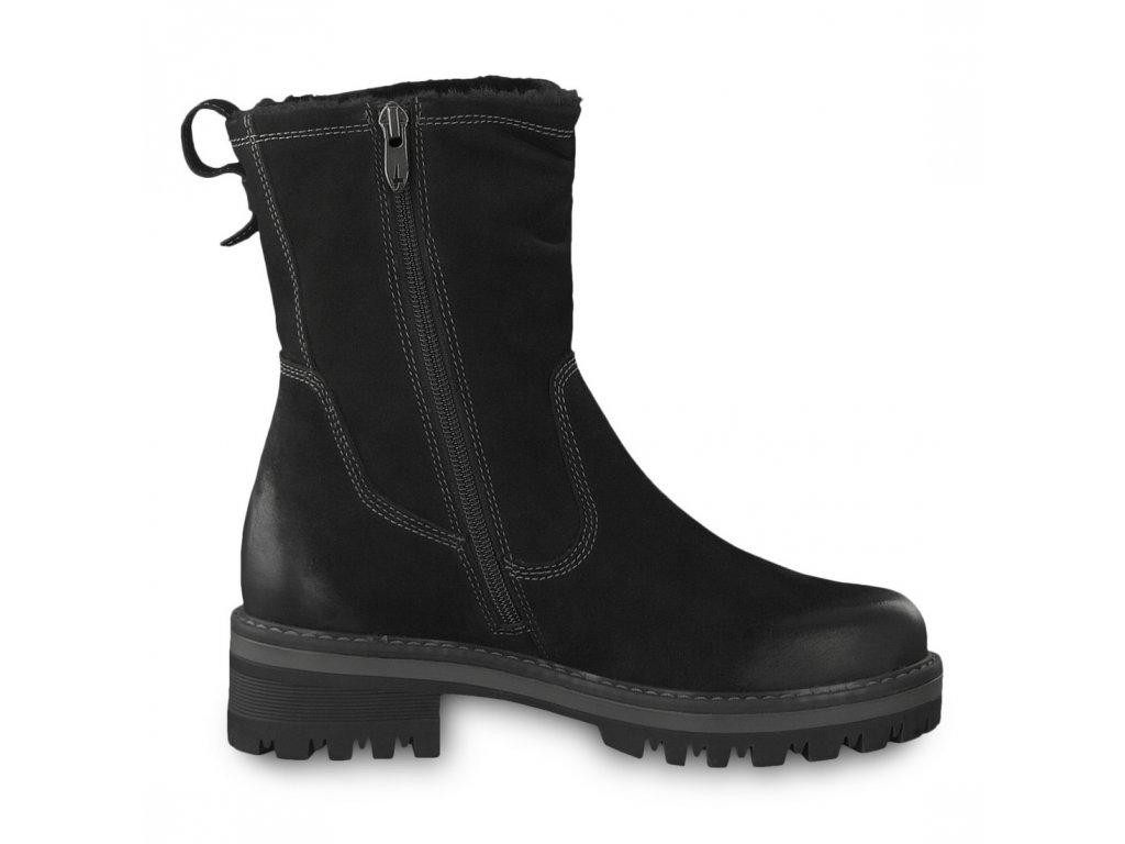 Tamaris-dámské kožené kotníkové boty na pohodlné platformě 1-26433-21 černá  ... 85f146f5c2