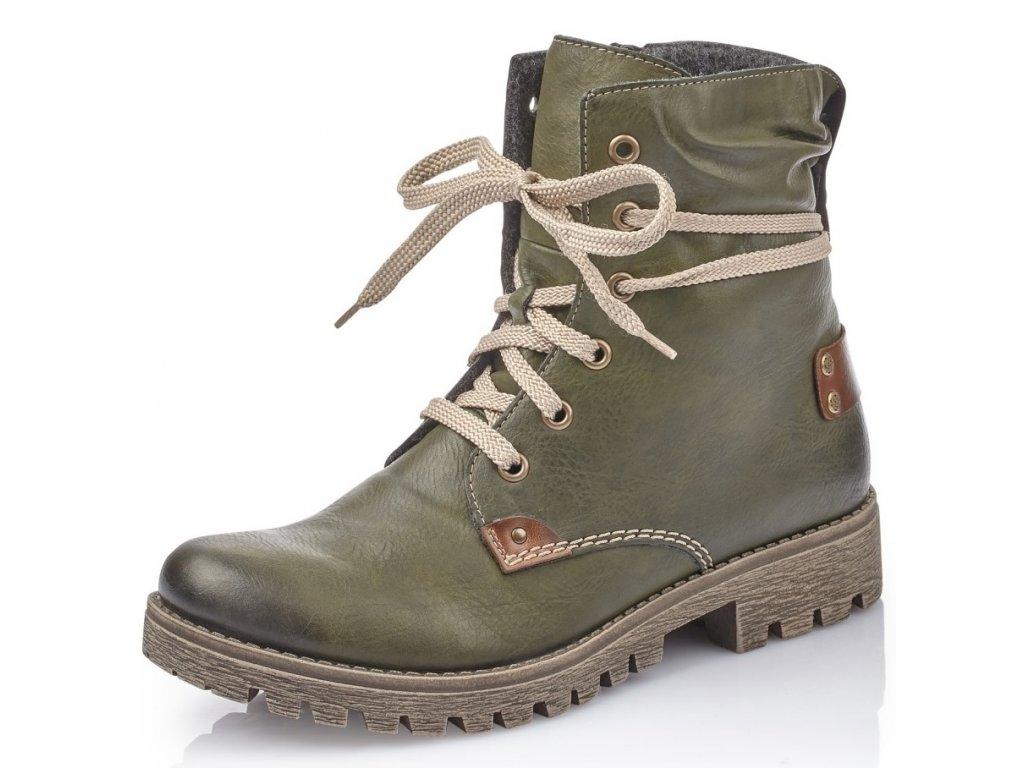 Rieker-dámské kotníkové šněrovací boty s protizkluzem 78530-52 zelená 9531737e70