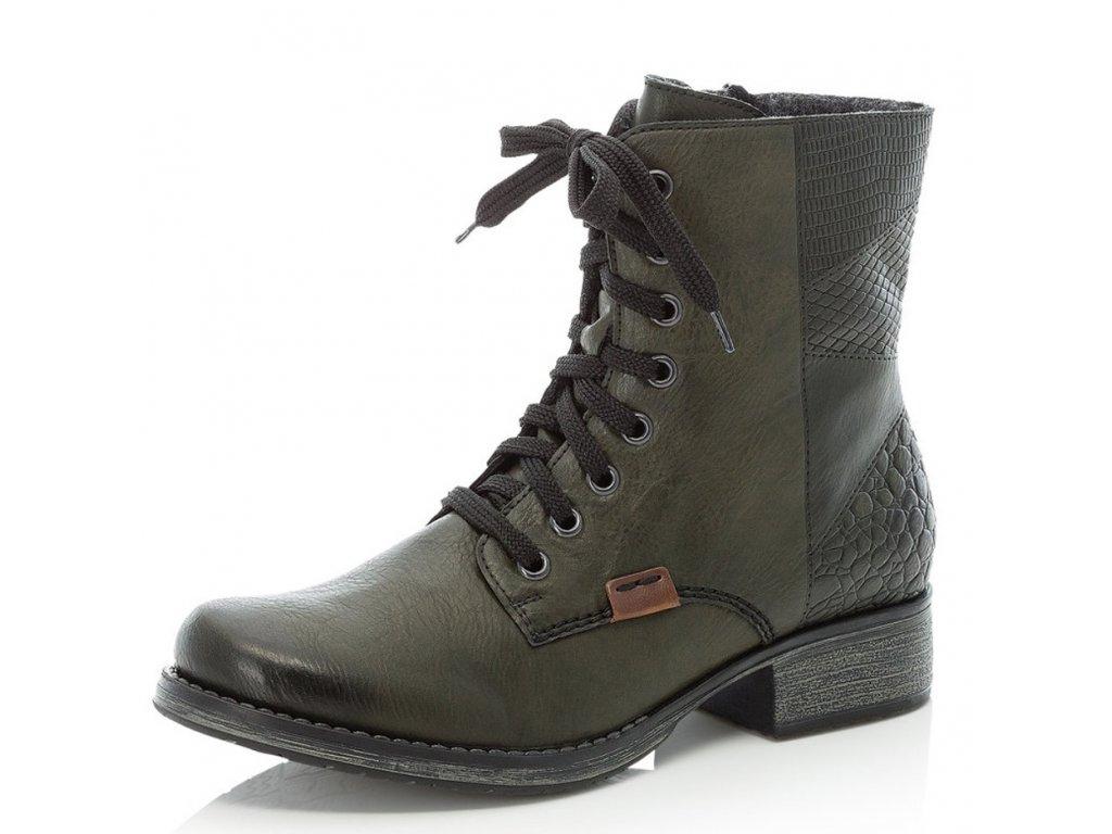 b8e86a8cf07c Rieker-dámské kotníkové boty s výrazným zeleným vzorem Y9718-52 ...