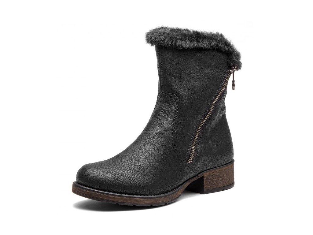 Rieker-dámské kotníkové boty s kožíškem zateplené ovčím beránkem ... 62a8965ff0