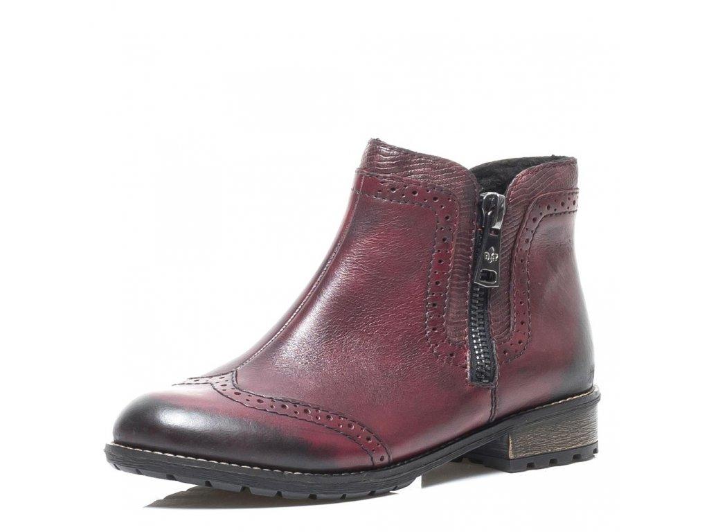77f01b82275a Rieker-dámské kožené kotníkové boty s prošíváním a zipem po straně ...