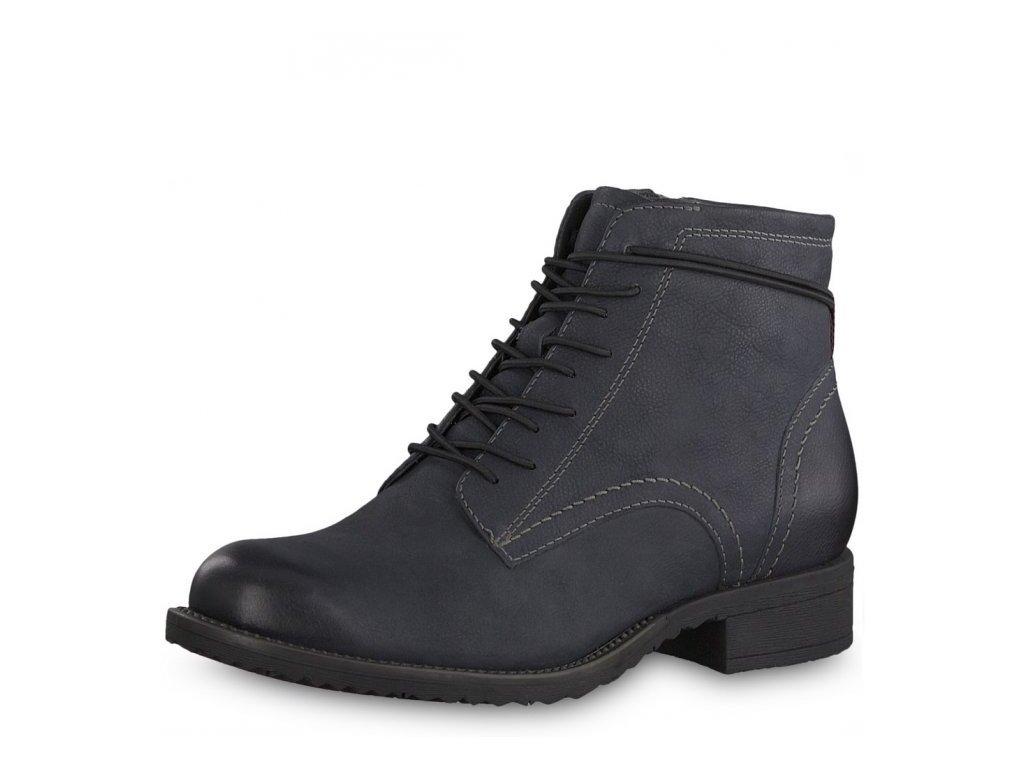 Tamaris-dámské kotníkové boty se šněrováním na pohodlné platformě 1-25211-21/modrá p/z8