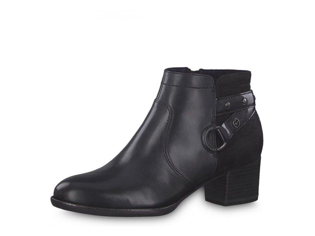 Tamaris-dámské kožené kotníkové boty na podpatku zdobené sponou 1-25343-21/modrá p/z8