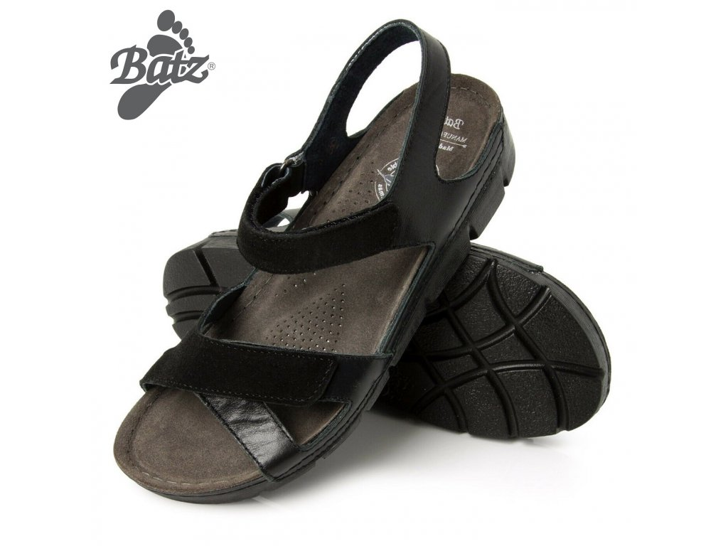 0048345 batz toledo black damske zdravotni sandaly