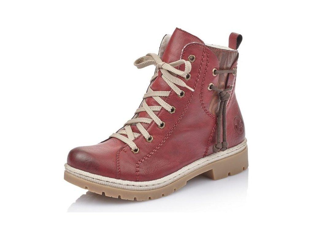 Dámské kotníkové šněrovací boty Rieker Y9438-35 červená p/z9