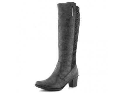 Rieker-elegantní dámské kozačky na podpatku se stretch materiálem na patě Z7695-45/šedá