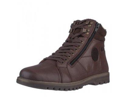 Rieker- Pánské kožené kotníkové boty s ovčí vlnou F3123-24/hnědá