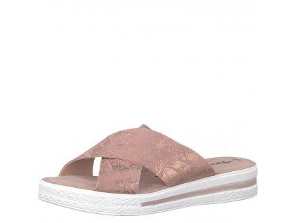 Tamaris-dámské pantofle s překříženými pásky zdobené lesklým vzorem 1-27230-20/růžová