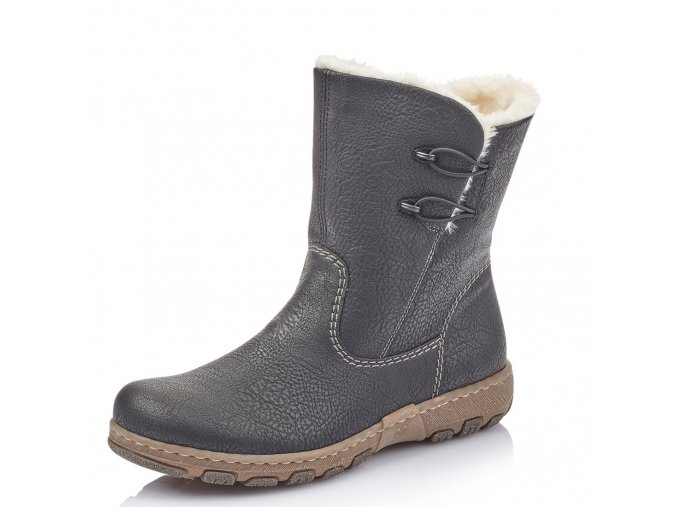 Rieker-dámské kotníkové boty se zateplením na bytelné podrážce z0172-00/černá