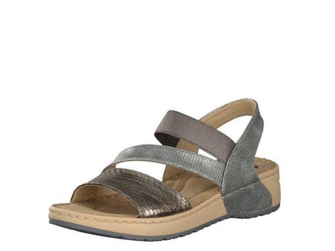 Rieker-dámské sandály s překříženými pásky zdobené metalickým vzorem V5773-90/stříbrná
