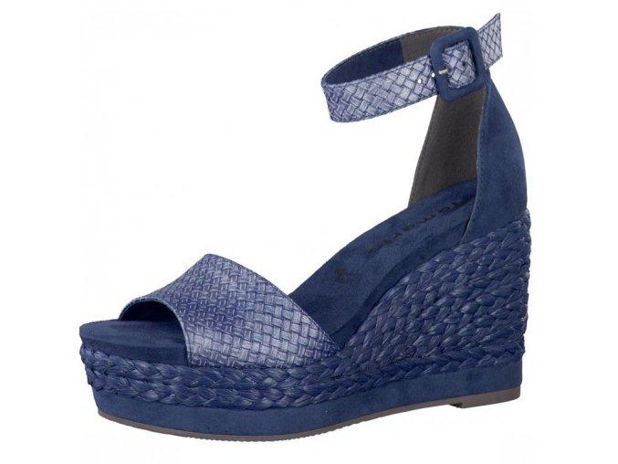 Tamaris-dámské sandály na vysokém zdobeném klínku s plnou patou 1-28308-28/modrá