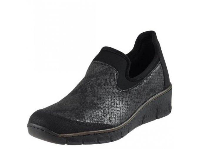 Rieker-dámské polobotky s hadím stříbrném vzorem na pohodlném klínku 53778-00/černá