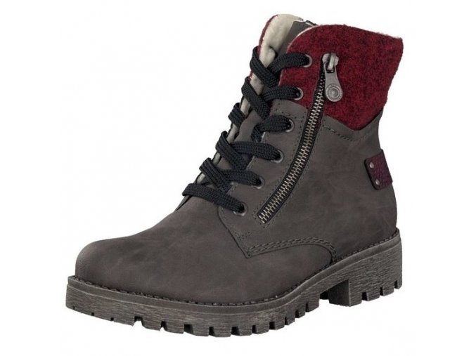 rieker women lace up boot grey 78541 45 8