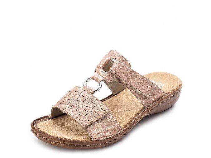 Rieker-dámské pantofle s nastavitelným vzorem zdobené vytlačením 60818-90/růžová