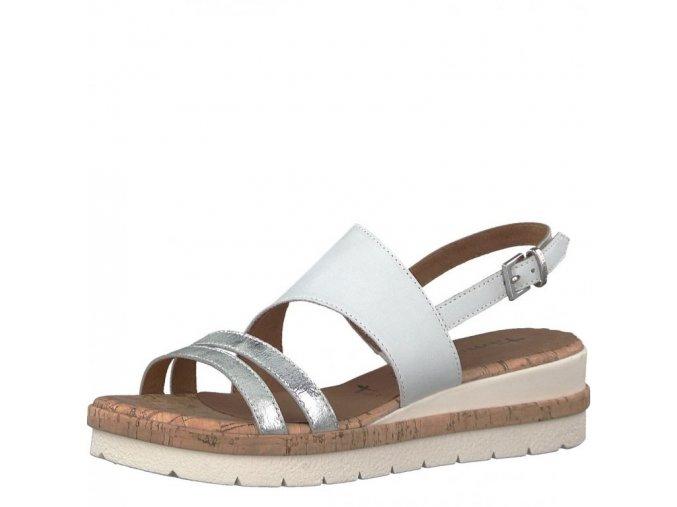 Tamaris-dámské sandály s překříženými pásky přes nárt a ozdobnou podešví 1-28205-20/bílá