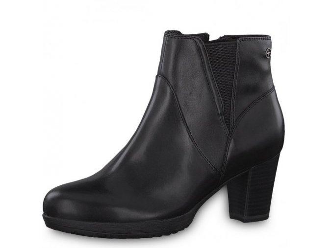 Tamaris-dámské kožené kotníkové boty na podpatku na zip 1-25324-21/černá p/z8