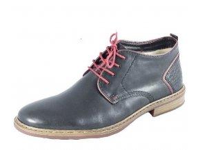 Rieker-pánské kotníkové boty s červenými doplňky B1141-03/černá