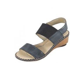 Rieker-dámské sandály na klínku s ozdobným prošíváním 66162-12/modrá