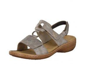 Rieker-dámské sandály s pásky na suchý zip zdobené prošíváním 60887-40/šedá