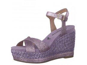 Tamaris-dámské sandály na vysokém zdobeném klínku s ozdobnými třpytivými pásky 1-28309-28/fialová