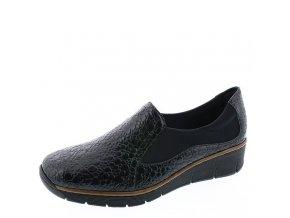 Rieker-dámské nazouváky na pohodlném klínku s lakovým vzorem 53736-45/černá