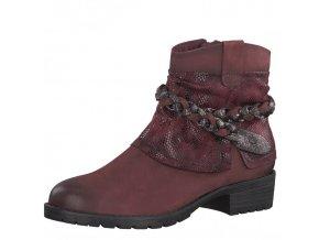 Tamaris-dámské kotníkové boty s ozdobným zdobením okolo kotníku 1-25382-29/bordová