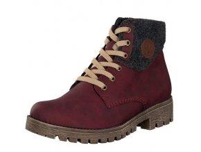 Rieker-dámské kotníkové boty na bytelné podešvi se šněrováním 78516-35/bordová