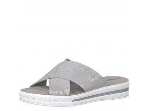 Tamaris-dámské pantofle s překříženými pásky zdobené lesklým vzorem 1-27230-20/stříbrná