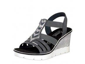 Rieker-dámské sandály na elegantním klínku s ozdobným páskem 68501-14/šedá