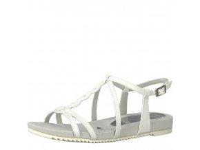 Tamaris-dámské bílé sandály s propletenými pásky na pohodlné platformě 1-28602-20/bílá