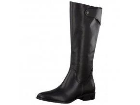 Tamaris-dámské kozačky na pohodlném podpatku s ozdobným cvočkem 1-25545-27/černá