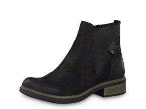 Tamaris-dámské kotníkové boty na pohodlné platformě  s gumou po straně 1-25317-21/černá p/z8