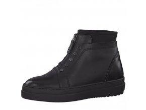 Tamaris-dámské kotníkové boty na pohodlné platformě se zipem uprostřed 1-25448-21/černá p/z8