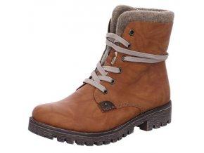 Rieker-dámské kotníkové šněrovací boty s protizkluzem 785F5-24/hnědá p/z8