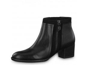 Tamaris-dámské kožené kotníkové boty na podpatku na zip 1-25344-21/černá p/z8
