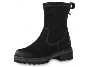 Tamaris-dámské kožené kotníkové boty na pohodlné platformě  1-26433-21/černá p/z8