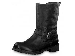Tamaris-dámské kožené kotníkové motorkářské boty na pohodlné platformě  1-26991-21/černá p/z8